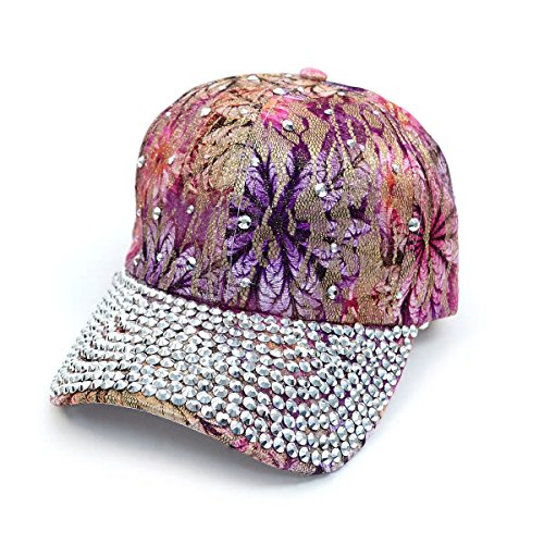 Bling Studs Embellished Adjustable Baseball Cap Hat Floral Abstract Many Colors OSFA