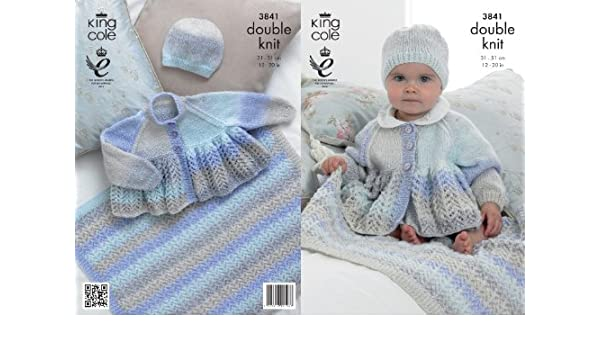 King Cole Baby Double Knitting DK Pattern Lace Effect Jacket Hat Blanket 3841