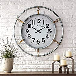 River Parks Studio Swindon Glossy Silver 29 1/4 High Round Wall Clock