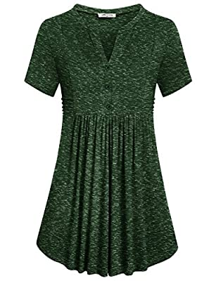 SeSe Code Women's Short Sleeve Notch V Neck Button Pleated Swing Tunic Shirt