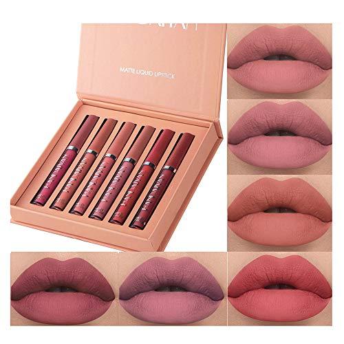 6Pcs Matte Liquid Lipstick Makeup Set, Matte liquid Long-Lasting Wear Non-Stick Cup Not Fade Waterproof Lip Gloss (Set B…
