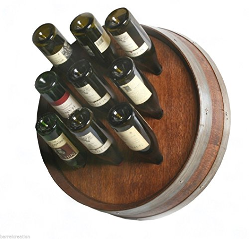 1/4 Wine Barrel Head Wine Bottle Rack Holds 9 Wine Bottles Wall Mount, By Wine Barrel Creations Inc. Barrel Head Wine Rack