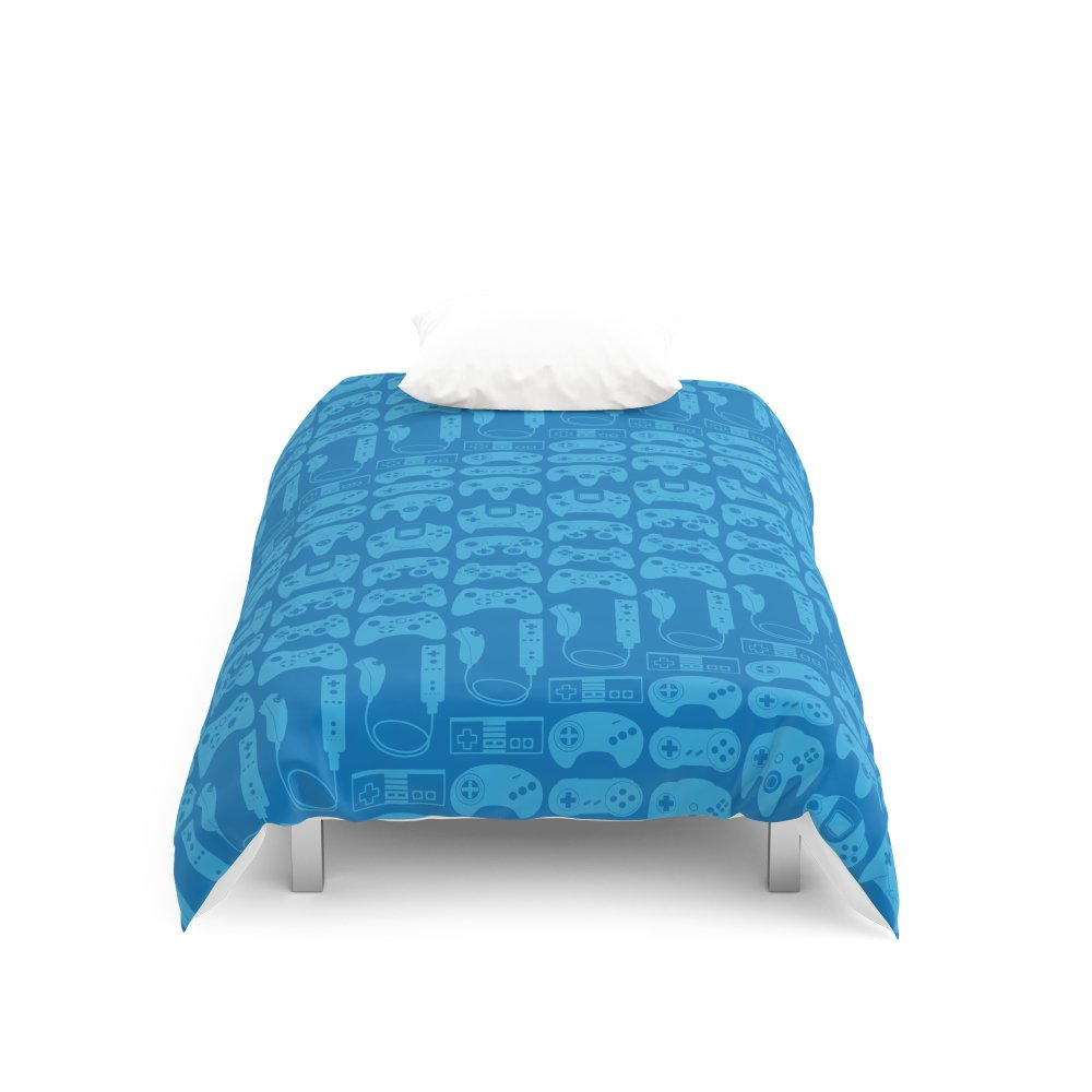 Society6 Video Game Controllers - Blue Duvet Covers Twin: 68'' x 88''