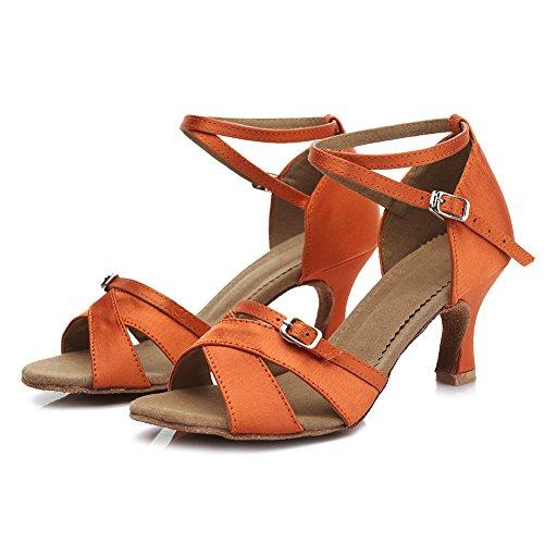 Roymall Kvinners Satin Latin Dans Sko Ballroom Salsa Tango Ytelse Sko, Modell Ty-b57 7cm Orange