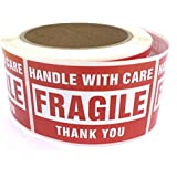 Fragile Stickers - Handle with Care Shipping Label - 2'' x 3'' , 500 Labels / Roll © enKo Products