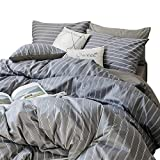 HIGHBUY Grey Stripe Print Duvet Cover Set Twin for Teens Boys 100% Cotton Reversible Modern Gingham Bedding Sets with Zipper Closure 3 Piece Comforter Cover Set with 2 Pillow Shams,Gray Twin Set