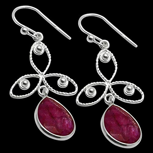Silver Palace Sterling Silver Handmade Ruby Earring For Womens And Girls