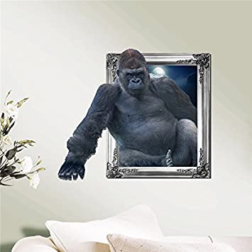 Chimpanzee 3d wall decals animal pag sticker removable gorilla wall stickers home decor gift