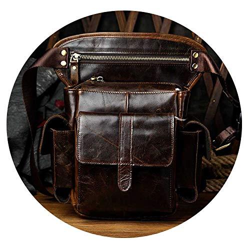 Genuine Leather Shoulder Bags Men Cowhide Drop Leg Bag Travel Messenger Bag Male Motorcycle Hip Belt Waist Fanny Pack,Coffee