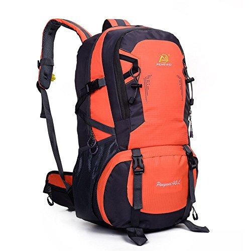 Wewod 40L Hombre y Mujer Mochilas de Senderismo al Aire Libre de Nylon Impermeable Mochilas de alta capacidad alpinismo bolso 32 x 50 x 22 cm (L*H*W) (Naranja) Naranja