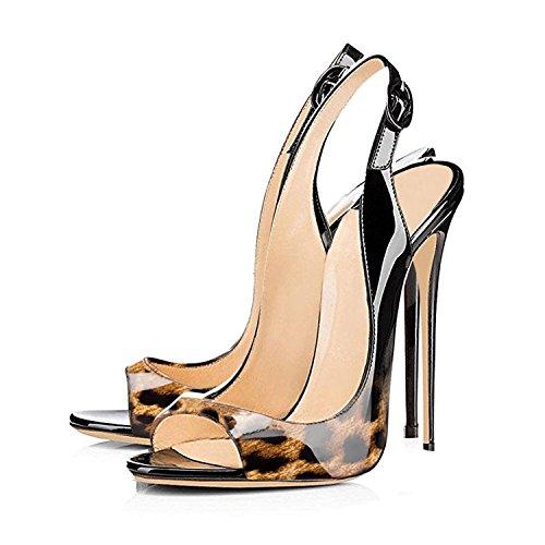 ELASHE Femmes Artisan Fashion Sandales Décolletés Bout Ouverts Chaussures à talon haut de 120mm Léopard jJGeyqWC