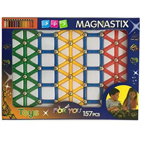 Magnetic Stick and Balls Magnetic Building Toy Set, Colors May Vary, 157 Piece