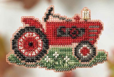 grandpa tractor beaded counted cross