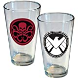 ICUP Marvel Comics Rivalry Shield Versus Hydra Pint Glass (2 Pack), Clear