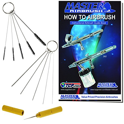 Master Airbrush 12 Piece Airbrush Cleaning Kit - 5 pc Cleaning Needles, 5 pc Cleaning Brushes, 1 Wash Needle, How to Book