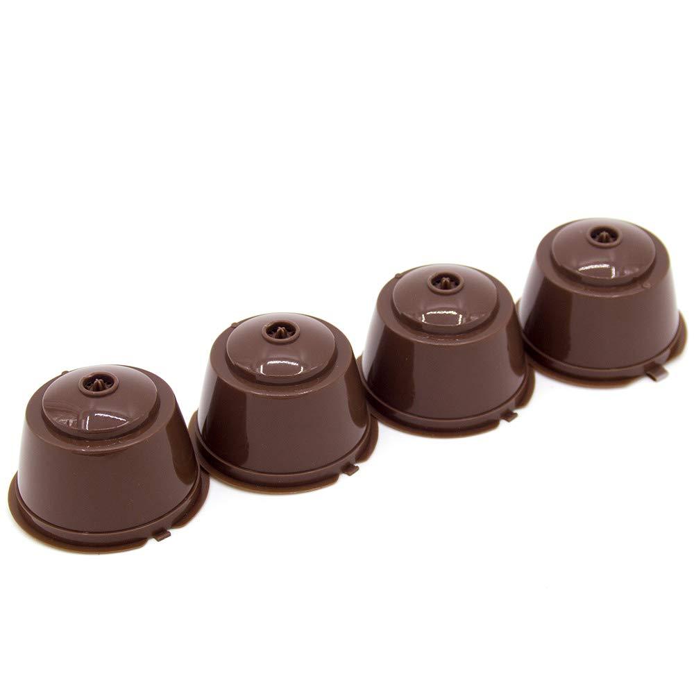 DeeCozy C/ápsulas Filtros de Caf/é Recargable Reutilizable,4 Piezas De Pl/ástico C/ápsula de Caf/é,Taza de c/ápsulas reutilizables para cafeteras con cuchara