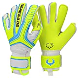 Renegade GK Vulcan Surge Hybrid Cut Level 3 Youth & Adult Goalie Gloves with Pro-Tek Fingersaves - Goalkeeper Gloves Size 8 - GK Gloves - Goalie Gloves Size 8 - White, Neon Yellow, Blue