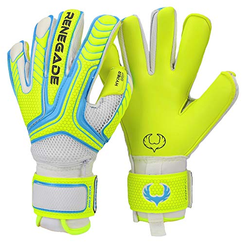 Renegade GK Vulcan Surge Hybrid Cut Level 3 Womens & Mens Soccer Goalie Glove with Fingersaves - Junior & Adult Goalkeeper Gloves Soccer - Soccer Goalie Gloves Size 10 - White, Neon Yellow, Blue ()