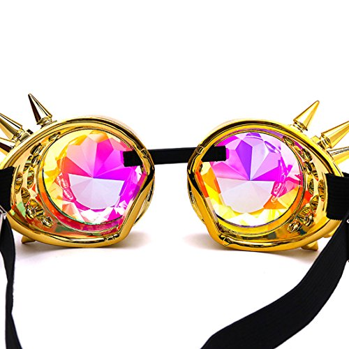 Amazon, Kaleidoscope Rave Rainbow Crystal Lenses Steampunk Goggles Spike Halloween (One Size-Adjustable head band, Golden) by DODOING (Image #5)