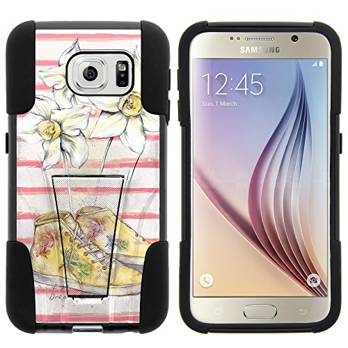 Galaxy S6 Case, Full Body Fusion STRIKE Impact Kickstand Case with Exclusive Illustrations for Samsung Galaxy S6 VI SM-G920 (T Mobile, Sprint, AT&T, US Cellular, Verizon) from MINITURTLE | Includes Clear Screen Protector and Stylus Pen - White Plumeria Flower