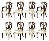 Set of 8 Mahogany Hepplewhite Shield Back Dining Chairs