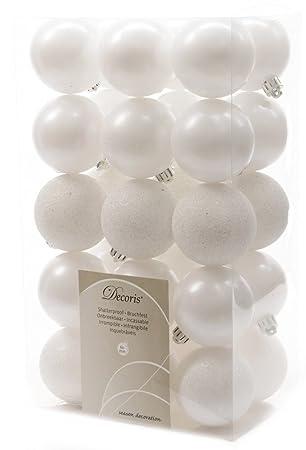 Weiße Christbaumkugeln Matt.Amazon De Kaemingk 30x Kunststoff Christbaumkugeln 6 Cm Weiß Matt