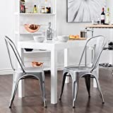 Belleze 2pc Modern Style Dining Chairs w/Back Stackable Chairs, Silver