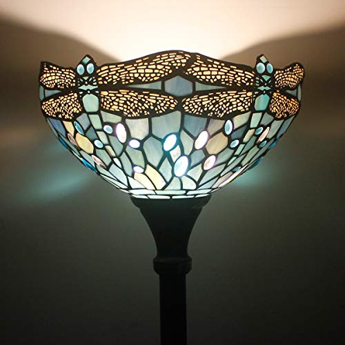 Tiffany Style Torchiere Light Floor Standing Lamp Wide 12 Tall 66 Inch Sea Blue Stained Glass Crystal Bead Dragonfly Lampshade for Living Room Bedroom Antique Table Set S147 WERFACTORY by WERFACTORY (Image #2)