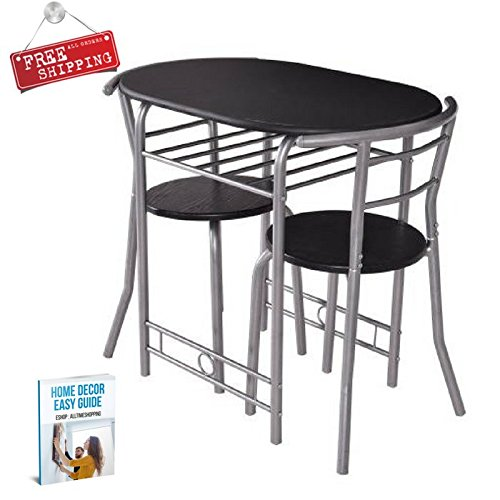 Bistro Table Set Indoor Kitchen Dining Table 3 Piece Furniture Modern Table Chair Small & eBook by AllTim3Shopping by Ats