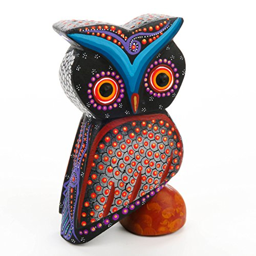 BEAUTIFUL BLACK OWL Oaxacan Alebrije Wood Carving Mexican Folk Art Animal Sculpture Painting