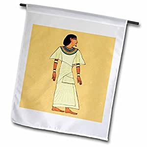 Jaclinart Ancient Egyptian Egypt Man - Ancient Egyptian Man with teal and yellow robe accents on a mustard yellow textured background - 12 x 18 inch Garden Flag (fl_54020_1)