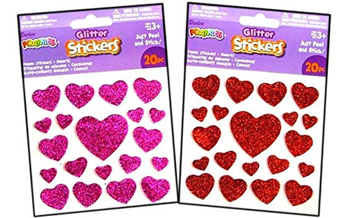 Darice Foamies Sticker Glitter Hearts Red/Pink