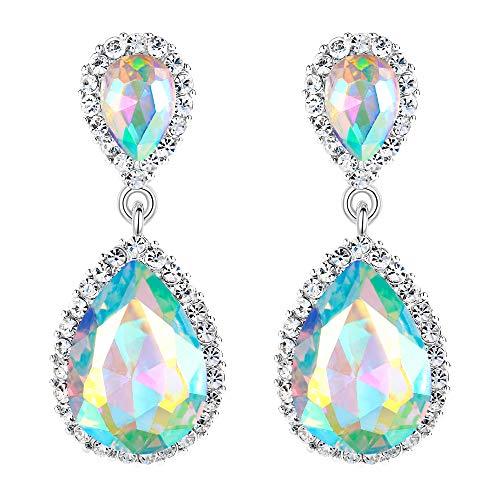 - EVER FAITH Women's Austrian Crystal Wedding Tear Drop Dangle Earrings Iridescent AB Silver-Tone