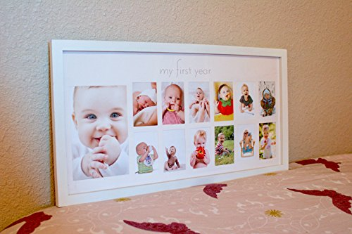 Baby\'s First Year Frame in Elegant White Natural Wood - My First ...