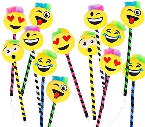 PlayO Plush Emoji Pens - 12 pk - 1 DZ Kids Emoticon School Prizes - 8.5