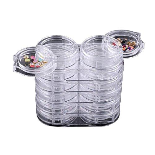 12pc/Set Storage Bottle Plastic Empty Box Case For Nail Art Rhinestone Bead - Basic Grey Individual Rhinestones