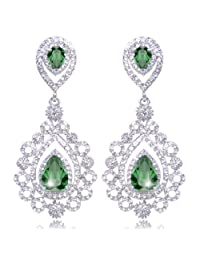 Ever Faith Wedding Victorian Style Pattern Teardrops Dangle Earrings Cubic Zirconia Crystal Clear N02711-1