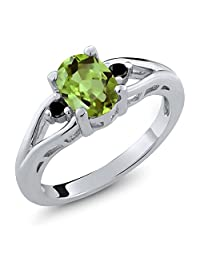 1.21 Ct Oval Green Peridot & Black Diamond 925 Sterling Silver Ladies 3-Stone Engagement Ring (Available in size 5, 6, 7, 8, 9)