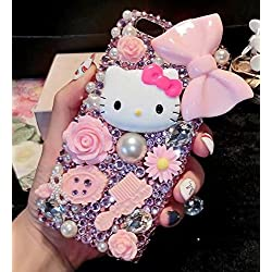 iPhone 6S Cartoon Cat Case,Luxury Bling Glitter Crystal Rhinestone Diamond Sparkle Girls Pink bowknot Phone Case Cover For iPhone 6/6S 4.7 inch