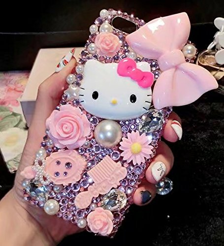 HTC M8/HTC ONE M8 Cartoon Cat Case,Luxury Bling Glitter Crystal Rhinestone Diamond Sparkle Girls Pink bowknot Phone Case Cover For HTC M8/HTC ONE - Case Phone Hello Kitty Htc M8 One