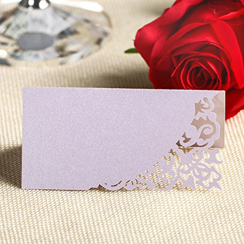 YUFENG Place Cards Laser Cut Table Name Cards For Wedding Birthday Party (60pcs lilac) (Place Card Cake Holder Wedding)