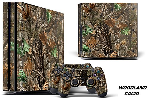Cheap Designer Decal for PlayStation 4 PRO System plus Two (2) Decals for PS4 Dualshock Controller – Woodland Camo