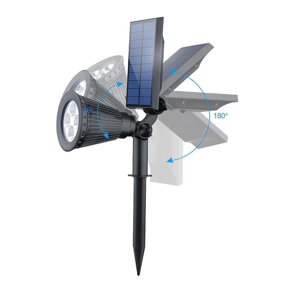 LED Solar Spotlight, T-SUNRISE 4 LED Solar Lights, IP65 Waterproof Landscape Light Security Lighting Dark Sensing Auto On/Off, Adjustable for Tree, Patio, Yard, Garden, Driveway, Stairs, Pool Area (4P by T-SUNRISE (Image #3)