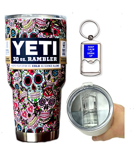 YETI Coolers 30 Ounce (30oz) (30 oz) Custom Rambler Tumbler Cup Mug with Exclusive Spill Resistant Lid (Dipped Sugar Skull)