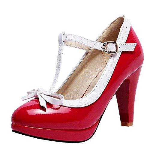 de Zapatos T MissSaSa Cabeza Rojo con Redonda Banda Velada Mujer Forma x6w0qR4