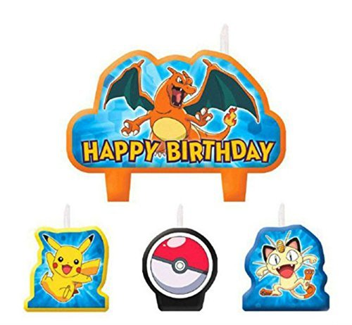 Price comparison product image 4 Piece Pokemon Pikachu & Friends Happy Birthday Cake Decoration Party Candles