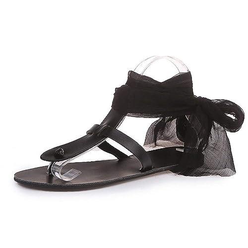 b673ea161135 VESNIBA LLC Summer Women Sandals Cross Strap Ribbon Flat Ankle Roman Shoes  Black