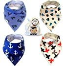 Baby Bandana Drool Bibs for Boys - Super Absorbent Cotton - 2 Adjustable Snaps - Soft Fleece Backing, 4 Bib Set with Bag Best Modern Boy Shower Gift From Tiny Captain