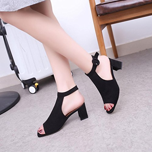 HLHN Women Sandals,Fish Mouth Roman Ankle Buckle Strap High Heel Peep Toe Shoes Casual Retro Beach Black