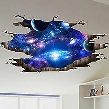 Rumas 3D Bridge Floor/Wall Sticker Removable Mural Decals Vinyl Art Living Room Decors (D)